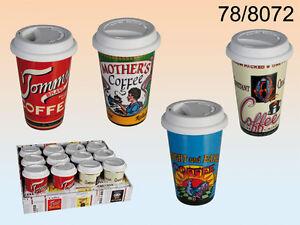 Kaffeebecher mit Deckel coffee to go Becher Porzellan Silikon 250ml Vintage
