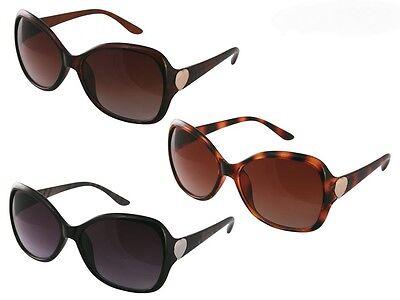 Sonnenbrille Damensonnenbrille groß elegant schwarz braun dezent verziert NEU 15