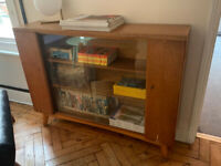 intage wooden glass front sideboard cabinet drinks cupboard storage table