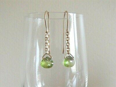 Handcrafted Sweet Peridot Briolette dangle earrings on 14kgf wires and chains Briolette Dangle Earrings