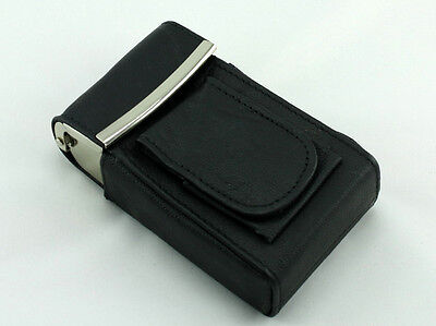 (Black Leather Cigarette Case Box Pack Holder with Lighter Compartment)