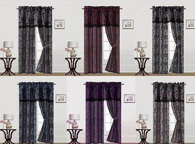 5PC SET PRINTED WINDOW COVERING CURTAINS ROD POCKET PANELS VALANCE DRAPES R1 (Window Coverings Drapes)