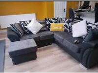 SHANNON SOFA FABRIC & FAUX LEATHER BLACK & GREY AVAILABLE IN STOCK**