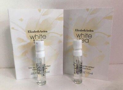 2 x ELIZABETH ARDEN WHITE TEA Eau De Toilette Spray VIAL 0.05 Oz/1.5 ml