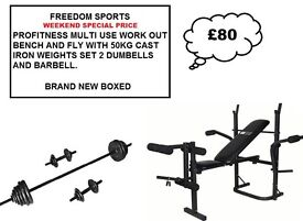 🎄Pro Fitness Multi-use Workout Bench and Fly + 50KG CAST IRON WEIGHTS SET (BNB)🎄