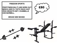 Profitness bench with fly and leg curl with 50kg IRON weights set brand new boxed