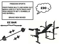 PROFITNESS FOLDING BENCH WITH 50KG IRON WEIGHTS SETWITH EZ BAR BRAND NEW BOXED TONIGHT ONLY