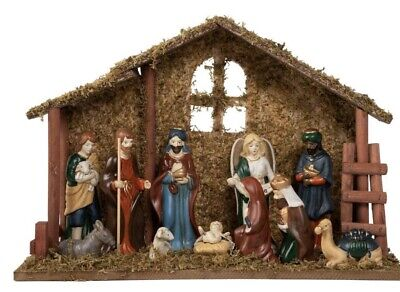 Home Accents Holiday 13 Piece Porcelain Nativity Set Crèche Stable Wisemen Mary