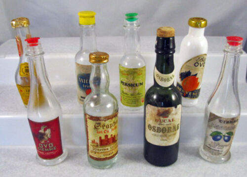 collection of eight unique vintage miniature liquor bottles empty & very old