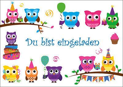 Eule Karten (8 lustige Eulen-Einladungskarten Kindergeburtstag /Geburtstagseinladungen Kinder)