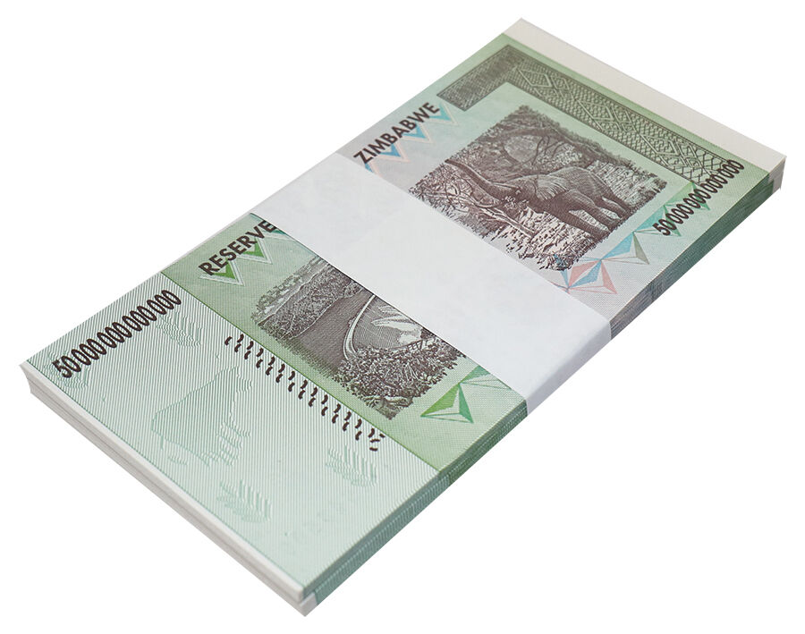Zimbabwe 50 Trillion Dollars X 50 Pieces (PCS), AA/2008, P-90, UNC, Half Bundle