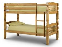 **14-DAY MONEY BACK GUARANTEE!**- Amazon Pine Solid Wooden Bunk Bed / Double bed with Mattresses