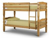 **7-DAY MONEY BACK GUARANTEE!** Solid Pine Bunk Bed Bunkbed and Mattress - SAME DAY DELIVERY!