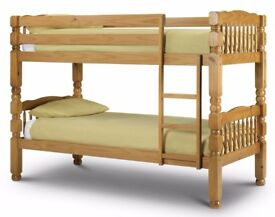 Same Day Express Delivery- NEW SINGLE WHITE OR PINE WOODEN BUNK BED -- WHITE AND PINE COLOURS