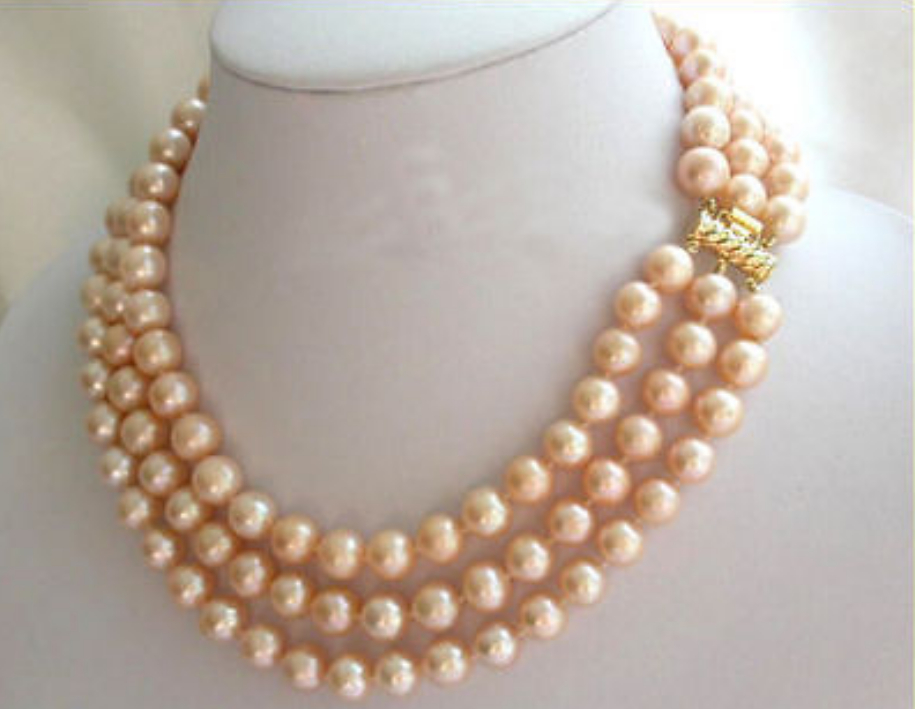 Necklaces & Pendants Charming 3 row natural 8-9mm south sea white pearl necklace 171819 Jewellery & Watches