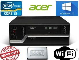 Fast Acer Veriton 2nd generation i3 8GB 500 SSHD Win 10 SFF Desktop PC dvdrw