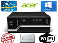 Fast Acer Veriton 2nd generation i3 8GB 500 SSHD Win 10 SFF Desktop PC dvdrw