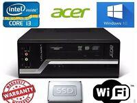 Fast Acer Veriton i3 8GB 120 SSD Win 10 SFF Desktop PC dvdrw