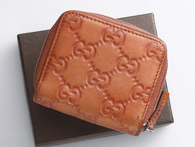 G8928K Authentic GUCCI Guccissima Genuine Leather Zip-Around Mini Coin Case