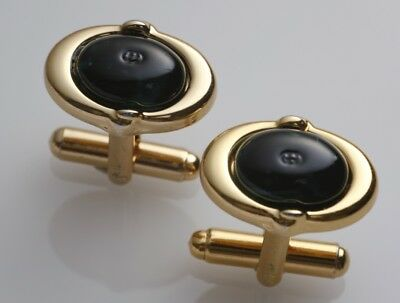 S5380M Authentic GUCCI Gold & Dark Green Cufflinks