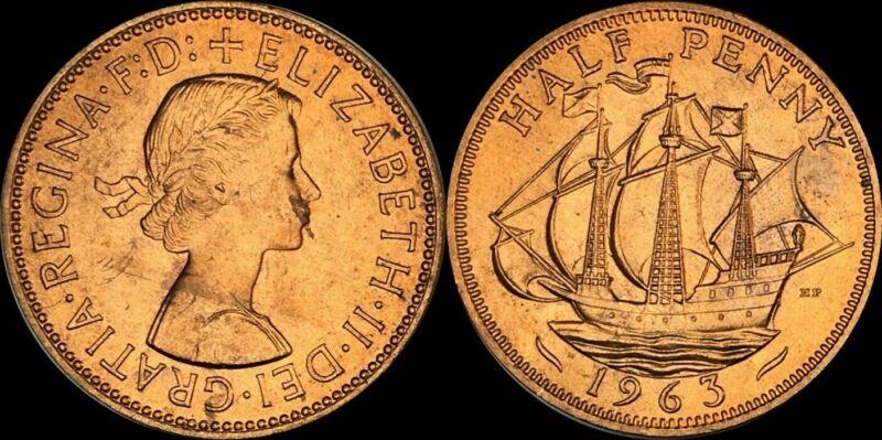 1963 GREAT BRITAIN HALF1/2 PENNY ELIZABETH II BEAUTIFUL TONED COIN IN HIGH GRADE