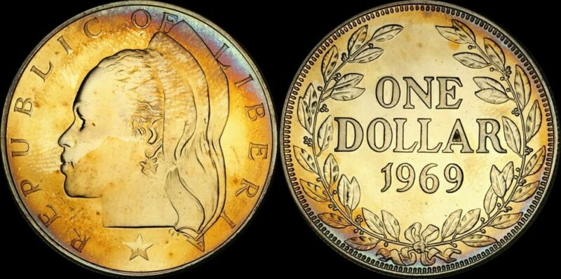 1969 REPUBLIC OF LIBERIA ONE DOLLAR COLOR TONED COIN IN HIGH GRADE !!!