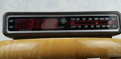 Vintage GE Digital Alarm Clock Radio AM FM Woodgrain Model 7-4612B