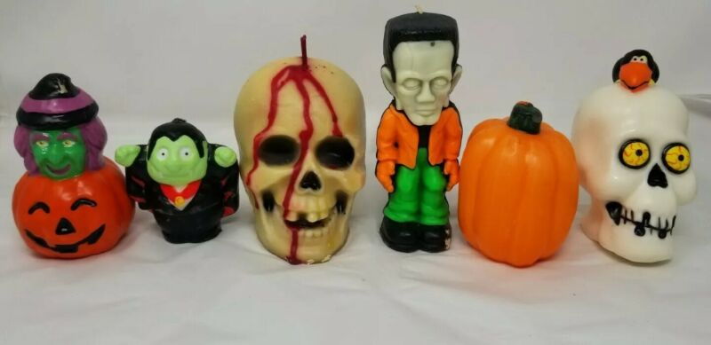 Vintage Lot of 6 Halloween Gurley large Skull Frankenstein, Pumpkin, CANDLES