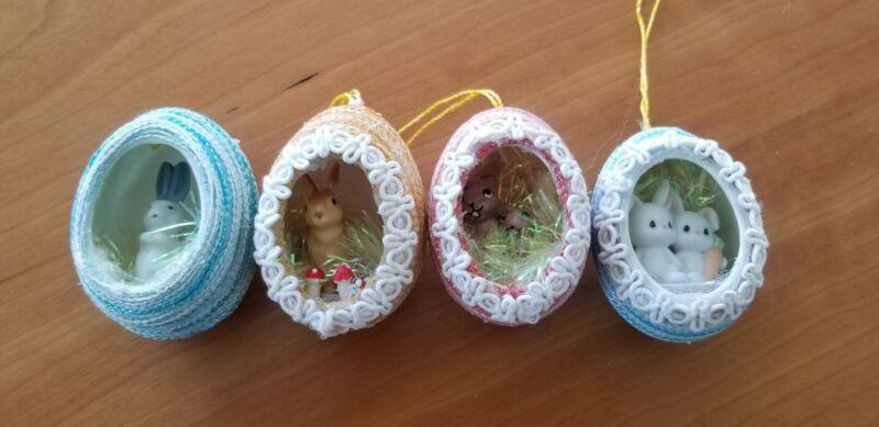 4 Vintage Easter Egg Tree Ornament Decoration Lot Diorama Porcelain  Rabbits