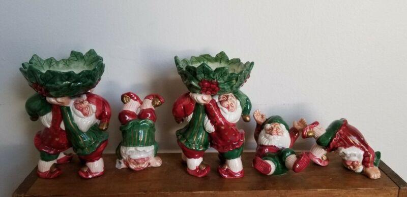 VTG.Fitz & Floyd 3 Tumbling Santa Elves Set Tags Christmas &2 Candle Holders