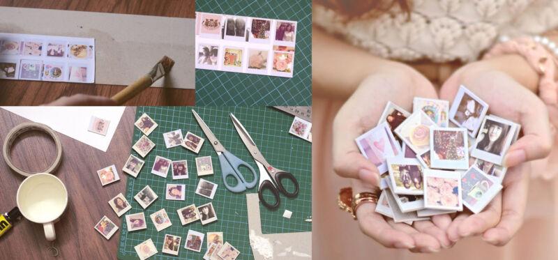 Fotos ausdrucken, aufkleben, ausschneiden und mit Magneten versehen - fertig ist das Spitzen-Geschenk. (© sundaesins)