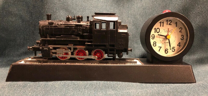 Rare! Vintage Mars Battery Operated Train Alarm Clock. Sounds & Motion! Works!