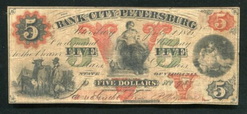 1861 $5 THE BANK OF THE CITY OF PETERSBURG VIRGINIA OBSOLETE CURRENCY NOTE