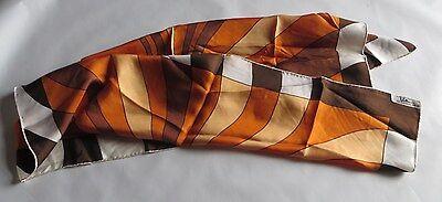 Foulard de soie orange, jaune, brun et beige