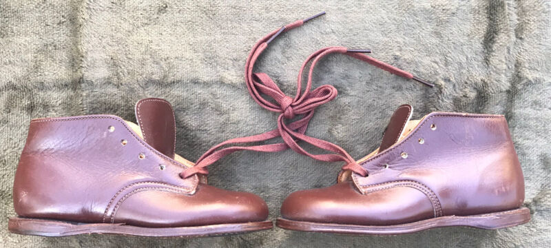 Vintage Antique Leather BABY SHOES Lace Up Toddler Child Doll 1940s Size 1 NOS