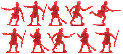 Accurate British Infantry set #3 - 10 unpainted 54mm toy soldiers in red color