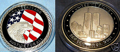 9/11 Silver Coin NYC September 11th Eagle Manhattan Americana USA Twin Towers UK