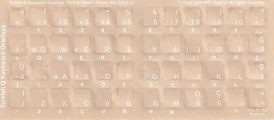Turkish Keyboard Stickers W Reverse Print White Letters