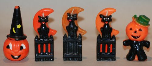 VINTAGE HALLOWEEN GURLEY NOVELTY CANDLES : LOT OF 5