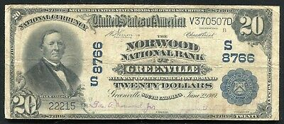 1902  20 Norwood National Bank Of Greenville  Sc National Currency Ch   8766