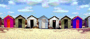 BEACH HUTS  surf surfing seaside  canvas picture 12
