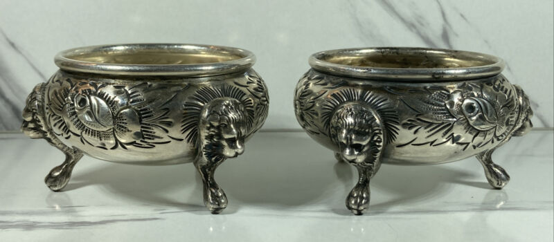 ANTIQUE VICTORIAN STERLING SILVER LION HEADS OPEN SALT CELLARS 600 RB CHASED