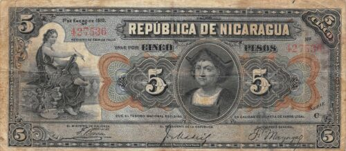 Nicaragua  5  Pesos  1.1.1910  P 45a  Series  C  Scarce  Circulated Banknote LAR