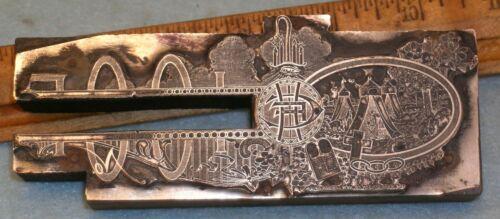Antique IOOF ODD FELLOWS ENCAMPMENT LETTERHEAD Zinc Printing Block F196
