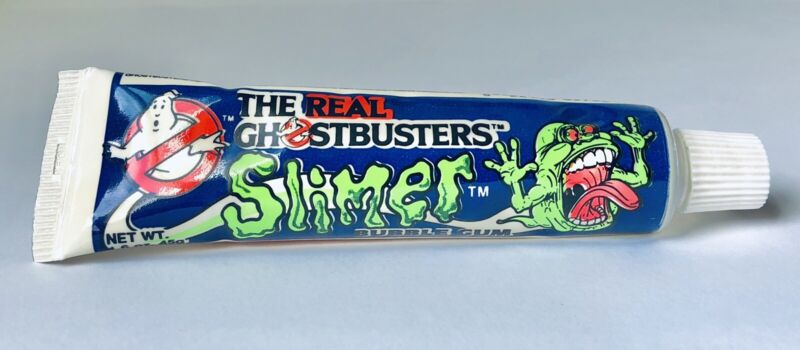 Vintage 1986 Amurol GHOSTBUSTERS Tube Bubble Gum Container candy SLIMER
