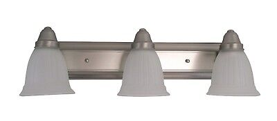 Brushed Nickel LED 3 Light Frosted Ribbed Glass Bath Wall Fixture 24