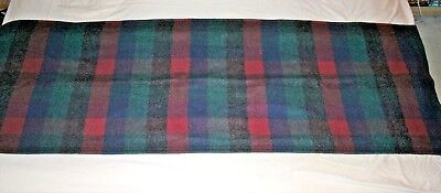 (Wool Plaid Bed Runner? Curtain Panel? Bed Scarf Couch Coverlet  83.5 X 27.5 MINT)