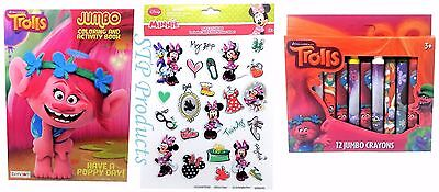 3-Pack (1) Trolls Coloring/Activity Book (1) 12-Pack Crayons & (1) Sticker - Sticker Activity Pack