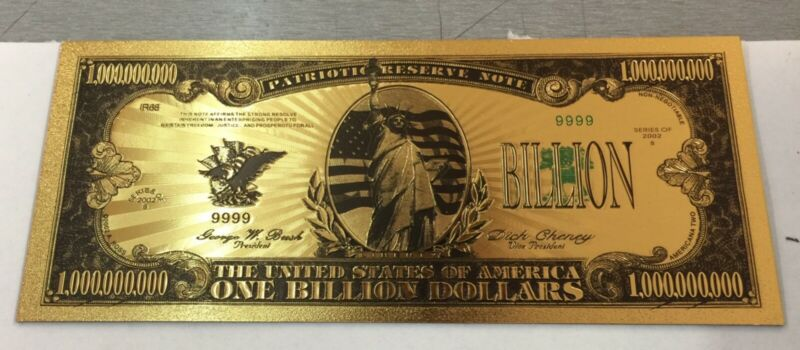 One Billion Dollar Colored America Banknote in 24K Gold Plated Fake Paper Money