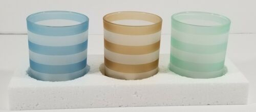 Yankee Candle INTO PORT STRIPED- Set of 3 Tea Light Candle H
